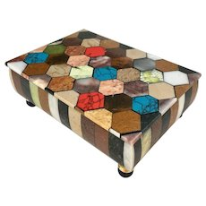 Colorful multi-stone specimen box with lapis.