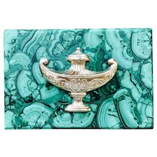 Large Solid Malachite Decorative Box with French Urn Motif