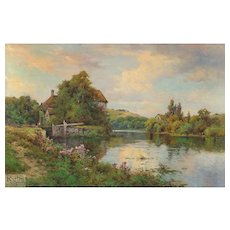 "Alfred de Breanski, Jr. - ""Fladbury Lock on the Avon, Worcestershire"""