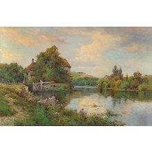 """Alfred de Breanski, Jr. - """"Fladbury Lock on the Avon, Worcestershire"""""""