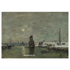 """Eugene Boudin - """"Dunkerque, Effet de Neige sur le Port"""""""