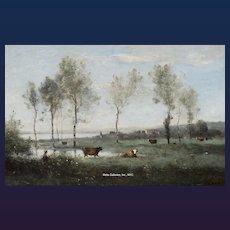 """Jean Baptiste Camille Corot - """"Paturage dans les Marais (Souvenir des environs d'Amiens)"""""""