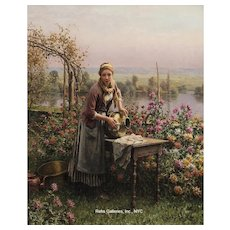 "Daniel Ridgway Knight - ""Polishing the Urn"""
