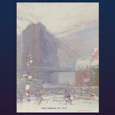 "Johann Berthelsen (1883 - 1972) - ""Brooklyn Bridge, Gospel Mission, New York"""