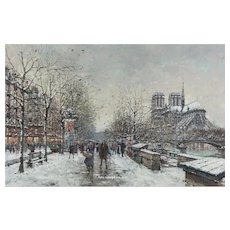 Antoine Blanchard - Winter in Paris, Notre-Dame