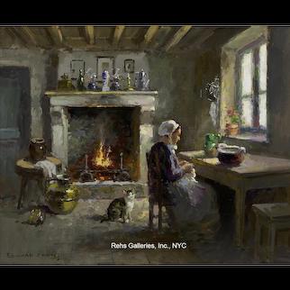 Paysanne et son chat dans un intérieur