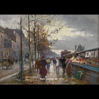 Edouard Cortes - Les Bouquinistes sur les Quais de la Seine