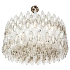 Large Italian Venini Style Clear and Smoked Taupe Polyhedral Murano Glass Chandelier