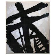 """Gridlock"" Original Black and White Painting by Argentine Artist Karina Gentinetta, 2016, 60"" x 72"""
