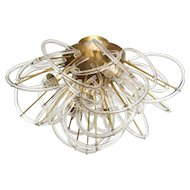 """Italian Mid-Century Clear Murano Glass Loops and Brass Chandelier (43"""" diameter)"""