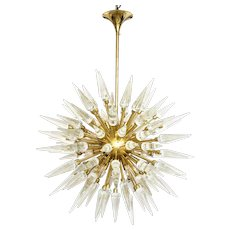 Large Glass and Brass Sputnik Chandelier (4 ft. diameter)