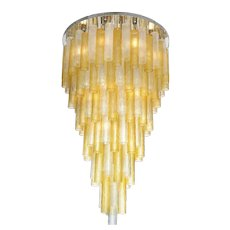 "Large Italian Venini Style Suspended Clear and Gold Murano Glass Chandelier (60"" height)"