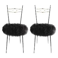 Pair of Mid-Century Modern Italian Gio Ponti Style Brass and Metal Chairs
