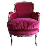 Louis XV-Style Diminutive or Child's Bergere Chair in Fuchsia Velvet