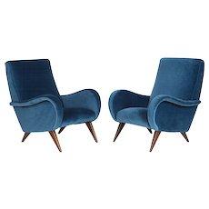 Pair of Mid-Century Italian Marco Zanuso style Armchairs in Blue Velvet