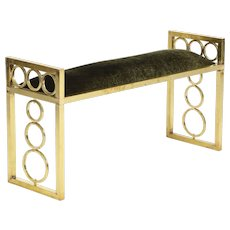 Italian Mid-Century Modern Brass and Velvet Bench