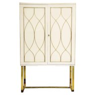Mid-Century Ivory Opaline Glass Cabinet with Brass Inlays, Italy