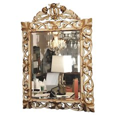 Late 19th c. Ornately Carved Giltwood and Painted Italian Mirror