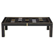 Black Opaline Glass Cocktail Table with Brass Inlays, Italy