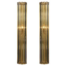 Pair of Large Italian Mid-Century Modern Murano Glass Rod and Brass Sconces