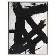 """On the Flip Side"", 48"" x 36"" Original Black and White Painting by Argentine Artist Karina Gentinetta"