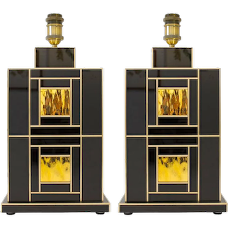 Signed Pair of Black Onyx and Gold Glass and Brass Lamps, Spain