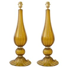 Large Pair of Handblown Italian Bronze and Gold Murano Glass Lamps
