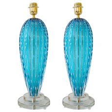 "Pair of Italian Aquamarine Blue ""Pulegoso"" Murano Glass Lamps, Signed"