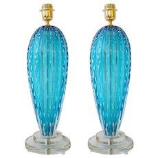 """Pair of Italian Aquamarine Blue """"Pulegoso"""" Murano Glass Lamps, Signed"""