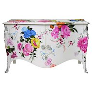 Commode buffet with hand painted flowers