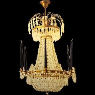 Swedish Gustavian Style Crystal Chandelier