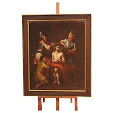 18th Century Italian Religious Painting Oil On Canvas