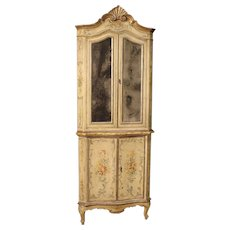 19th Century Venetian Lacquered And Painted Corner Cupboard