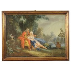 18th Century French Landscape With Figures Painting