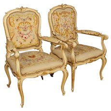 20th Century Pair Of Italian Armchairs In Louis XV Style In Lacquered And Gilt Wood