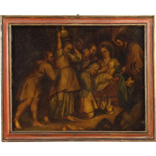 18th Century Spanish Religious Painting Oil on Canvas Holy Family