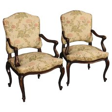20th Century Pair Of Italian Armchairs With Floral Fabric