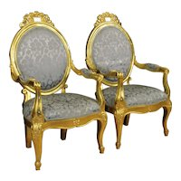20th Century Pair Of Italian Gilt Armchairs