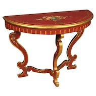 20th Century Italian Lacquered Demi Lune Console Table