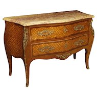 20th Century French Dresser Inlaid In Wood With Marble Top In Louis XV Style