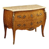20th Century French Inlaid Dresser In Rosewood With Marble Top and Bronzes In Louis XV Style
