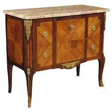 20th French Inlaid Dresser With Marble Top