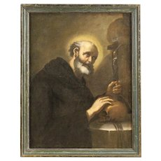 18th Century Antique Italian Religious Painting Oil On Canvas