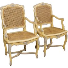 20th Century Pair Of French Painted Armchairs