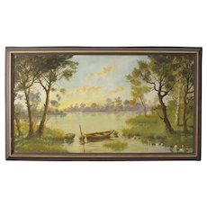 20th Century French Painting River Landscape With Boat