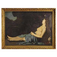 19th Century Antique Religious French Painting Mary Magdalene