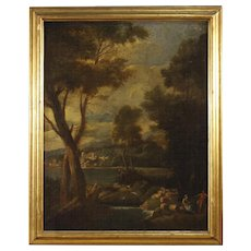 19th Century Italian Landscape Painting Oil On Canvas