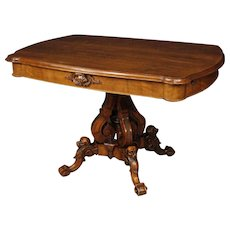 19th Century French Center Table In Walnut Wood