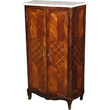 20th Century French Sideboard Cabinet In Inlaid Rosewood with Marble Top