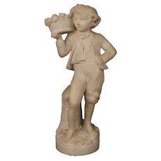 French Art Sculpture in Alabaster Representing Autumn